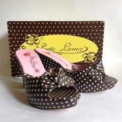 Poetic Licence Brown Polka Dot Rockabilly 1950s Inspired Mules UK 5 With Box