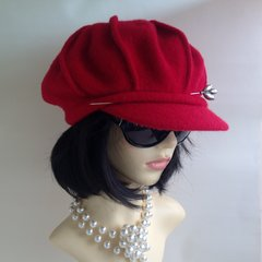 Suzanne Bettley Vintage Inspired Deep Red Wool French Style Beret Baker Boy Cap Hat