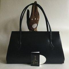 EROS Black Leather 1960s Vintage Handbag Suede Lining Mirror Care Label Elbief