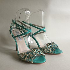 L.K. Bennett Turquoise Leather & Straw Stiletto Strappy Sandal Shoe UK 4 EU 37
