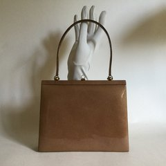 Caramel Patent Leather 1960s Vintage Handbag With Beige Satin Lining Kelly Bag Mad Men