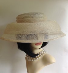 Marks & Spencer Large Natural Straw Hat With Pleat Detail Races Church Wedding