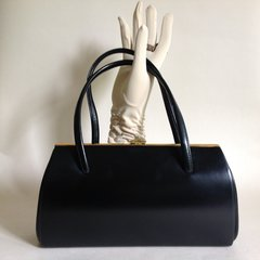 MODISSA  Black Faux Leather 1960s Vintage Handbag Buff Suede Lining Elbief Frame
