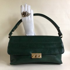 Chamelle by Essell Very Beautiful 1970s Racing Green Faux Leather Vintage Convertible Handbag