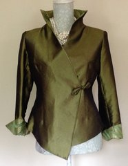 Qiao Xin Stunning Oriental Ladies Green Wrap Over Evening Jacket Size 10