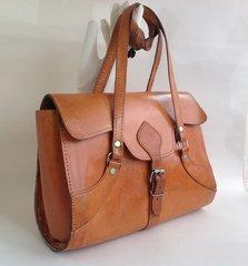 A Fabulous Well Loved Tan Leather Satchel Style Vintage Handbag Circa 1970s