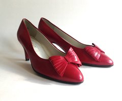 "BALLY Red Leather 1980s 2.75"" High Heel Court Shoes Vintage Size 85c UK 7 EU 41"