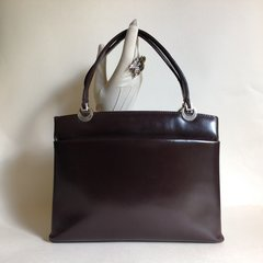 Calf Leather 1960s Vintage Handbag With Brown Leather Lining Gold Toned Fittings