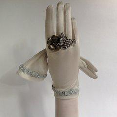 Cornelia James Vintage 1960s Nylon Silver Evening Gloves Silver Flower Detail To Wrist Size 7.5