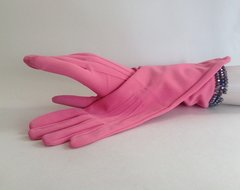Hot Pink 1950s Stretch Nylon Vintage Evening Mod GoGo Goodwood Gloves Size 7.5