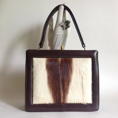 Leland 1960s Springbok Deer & Faux Leather Vintage Handbag With Fabric Lining