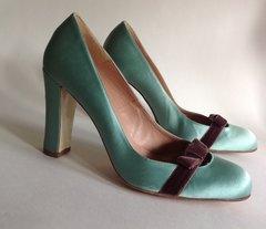 L.K. Bennett Duck Egg Satin Brown Velvet Bow Hi Heel Court Shoe UK Size 6 EU 39