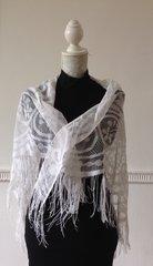 Vintage 1950s Style 56 x 44 White Tassel Edged Lace Scarf Shawl Wrap Stole