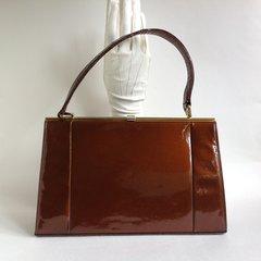 HOLMES Toffee Patent Leather 1950s Vintage Handbag Elbief Frame Mad Men Kelly Bag