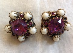 1940s Vintage Clip On Faux Pearl & Faux Tourmaline Earrings Set In Brass With Brass Clip