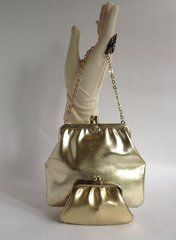 Gold Faux Leather 1960s Vintage Handbag Ivory Fabric Lining With Matching Coin Purse