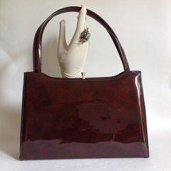 Cherry Gambie 1950s Dark Toffee Patent Vintage Handbag With Elbief Frame