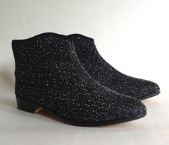 Papageno 1960s Vintage Black Larmé & Leather Indoor Booties Slippers UK3 EU 36