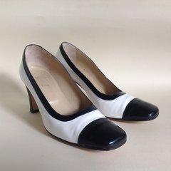 Soré Black & White Leather 1980s Vintage Classic 3 Inch Heel Court Shoe Size UK 4