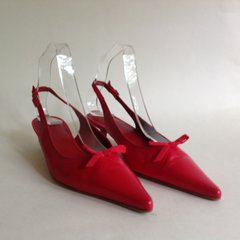 L.K.Bennett Red Leather Slingback Kitten Heel Bow Fronted Shoes  Size Uk 5.5 EU 38.5.