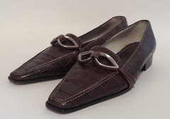 Amalfi Brown Crocodile Print Leather Low Heel Loafer Shoe Size UK 3.5 EU 36.5 US 5.5 - Small tight fit