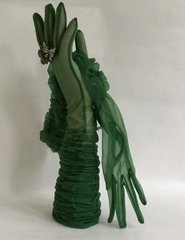 """Vintage 1950s Green Sheer Nylon 20"""" Gathered 2 Button Opera Evening Gloves Size 6.5 Aprox"""