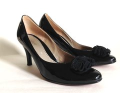 Gabor Black Patent Synthetic & Leather Mid Slim Heel Court Shoe Size UK 5 EU 38