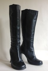 Black 1970s Style Leather Knee Length Zip Up Flared High Heel Boots UK 5 EU 38