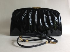 Japelle By Shilton International 1970s Vintage Black Faux Patent Clutch Shoulder Bag