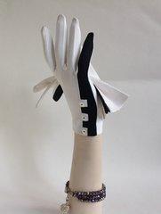 FILEX 1960s Vintage Nylon White With Shirt Button & Black Trim Occasional Dress Gloves Size 6.5.