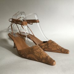 Corazon Azul Tan Tooled Leather Ankle Strap Around High Heel Shoe U.K 7 EU 40