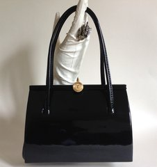 Unbranded High Quality Small Black Patent 1950s Vintage Handbag Buff Suede Lining With Mirror & Elbief Frame