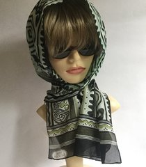 Vidal Sassoon Pale Green Black Ivory Patterned Neck Scarf With Stitched Hem