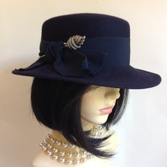 Mayser-Milz 1930s Blue Felt Hat Cordé Ribbon Bow & Later Silver Toned Hat Pin