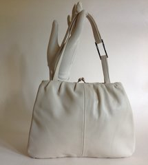 Joh Rocha Ivory Leather Soft Vintage 1960s Style Handbag Ivory Fabric