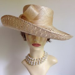 AUSTIN REED Large Sisal Hat With Off Centre Bow Detail Church Wedding