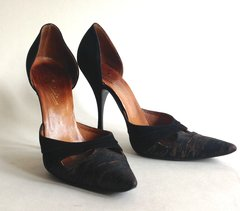 Spencer's Black Suede Leather/Fabric 1950s Vintage Shoes Props UK 3.5 Mad Men