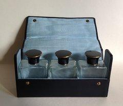 Vintage Eau De Cologne Toilette Perfume Bottles Lids Inner Lids Blue Vinyl Case