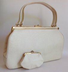 LODIX Large Ivory Faux Leather Suede Lined 1950s Vintage Handbag Coin Purse