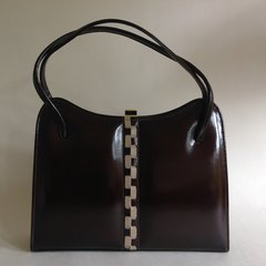 Clarks 1960s Vintage Handbag Brown Patent Leather With Elbief Frame