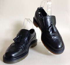 Dr Martens Air Wair Black Brogue Patterned Loafers With Medallion & Tassel UK 7