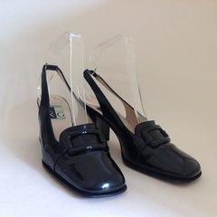 KG Kurt Geiger 1980s Black Patent Leather Sling Back Vintage Shoes UK 4 EU 37