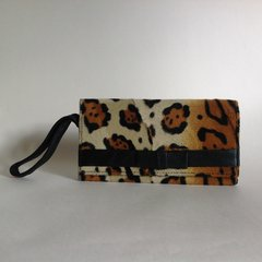 Miss Sixty Leopard Print Faux Fur Clutch Bag With Black Faux Leather Lining Trim and Large Fitted Mirror