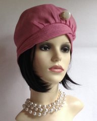 Vintage 1960s Pink Turban Style Fabric Beret Hat 22 Inches