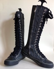 Underground Canvas Black Girls Women's Punk Goth Baseball Full Length Boots UK 5