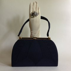 Cordé Blue Fabric 1940s Vintage Handbag With Blue Satin Fabric Lining And Mirror in Original Packaging