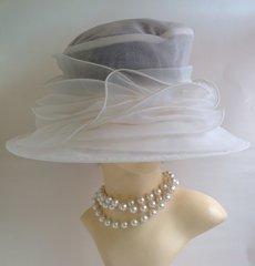 White Sheer Wedding Church Dress Races Net Fabric Hat Layered Pleated Detail