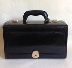 Black Leather Large 1970s Vintage Vanity Jewellery Make Up Travel Train Case Key