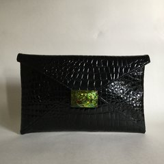 Artisan Black Embossed Crocodile Print Faux Patent Leather Envelope Clutch Bag