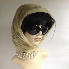 Anne Marsh 30 Inch Pale Yellow Patterned 1960s Nylon Chiffon Scarf Rolled & Stitched Hem
